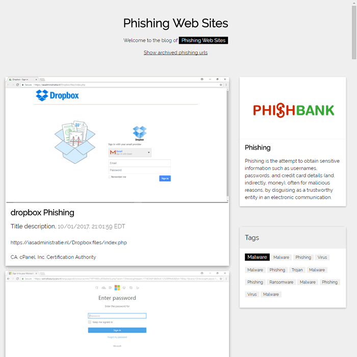 Phishibank - Phishing Web Sites