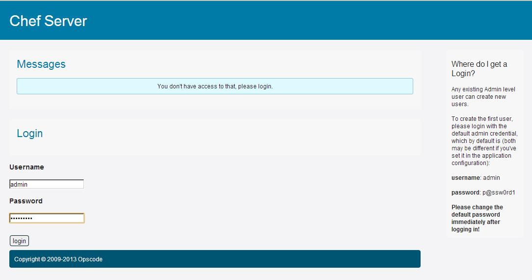 Chef ServerのWeb UIログイン画面